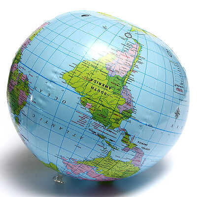 PVC Inflatable Blow Up World Globe 38CM Earth Atlas Ball Map Geography Toy Tutor