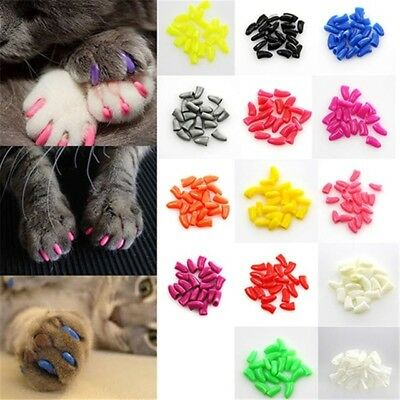 Cat Claw Protector Caps + Free Glue-20 Pack Silicone Pet Scratch Control Sheaths