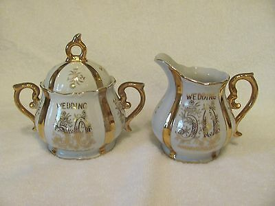 NORCREST FINE CHINA 50th WEDDING ANNIVERSARY SUGAR BOWL AND CREAMER SET