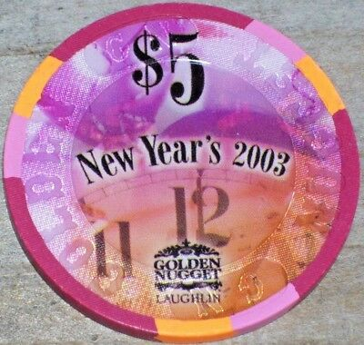 $5 Ltd New Years Eve 2002 Gaming Chip Fromthe Golden Nugget Casino Laughlin Nv