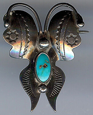 Petite Vintage Navajo Indian Silver & Turquoise Butterfly Pin
