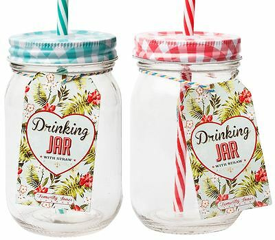 Vintage Mason Drinking Jar With Straw
