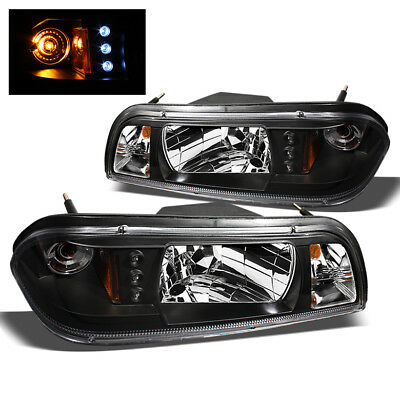 Fits 87-93 Ford Mustang BLK LED Headlights+Corner+Parking Lights 3In1 Pair