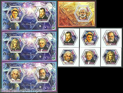 Chad Einstein Pasteur Newton Curie Galileo Faraday: Set, S/s  & 3 Sheets Mint Nh