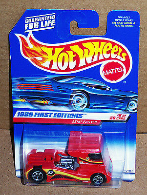 Hot Wheels SEMI FAST Racing Big Rig 1999 First Editions #8/26 Red w/SP-5's MoC