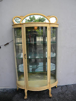 TALL EARLY 1900'S PAINTED OAK GLASS-FRONT DISPLAY CABINET #5544