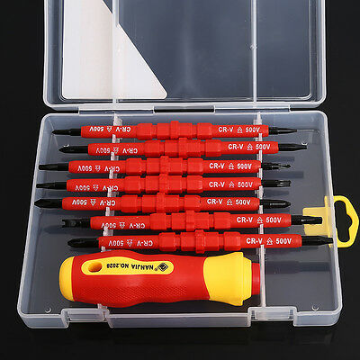 7 Pcs Insulated Electrical Hand Screwdriver Tool Set With Box New