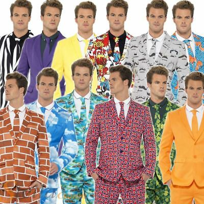 Mens Stand Out Suits Fancy Dress Costume Stag Do Party Funny Comedy Adult Outfit
