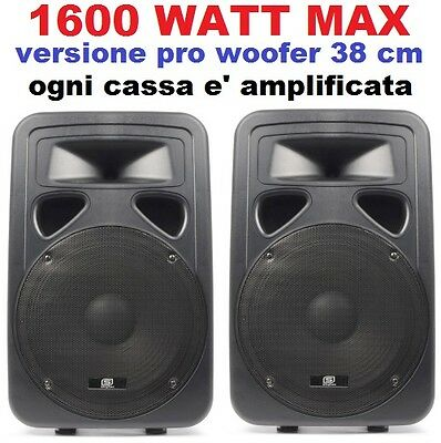 "👍 CASSE AMPLIFICATE ATTIVE 1600W woofer 38 cm (15"") FULL-RANGE IN ABS serie pro"