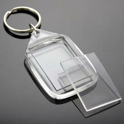 Top Quality 30 Clear Blank Acrylic Photo Keyring 35 x 24mm Insert Personalise UK