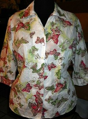 16 Petite White Cotton Blouse w/ Amazing Butterfly Print Sweet! Quality! Must C