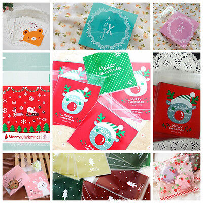 100 Self Adhesive Christmas Santa Cellophane Party Treat Cooky Candy Gift Bags