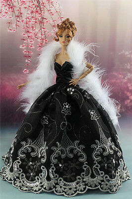 Black Fashion Party Dress/Evening Clothes/Gown+Shawl Stole For Barbie DollP7
