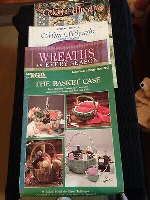 LOT OF 4 CRAFT PATTERNS INSTRUCTION BASKETS WREATHS FOR ALL SEASONS DECOR STITCH
