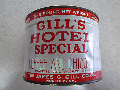 Gill's Hotel Special Coffee 1930's Keywind Unopened Full 1 pound can