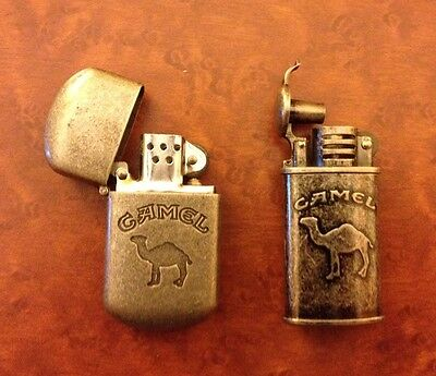 Camel Cigarette Lighters 2 - Refillable, advertising, banned, Trench, Vintage