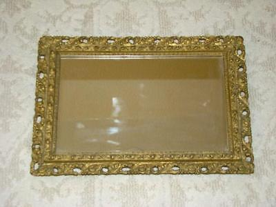 Lovely Antique Wood Muted Gold Gilt Gesso Carved Wood Frame MIRROR
