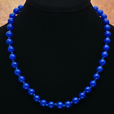 "BLUE JADE GEMSTONE 18"" NECKLACE"