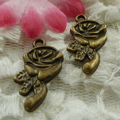 free ship 180 pieces bronze plated flower charms 21x10mm #3888