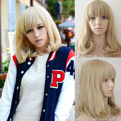 Medium Long Wavy Curly Full Wig Hair Blonde Heat Resistant Cosplay Party