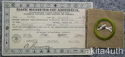 BSA  Swimming Merit Badge Type A Mint with Certificate