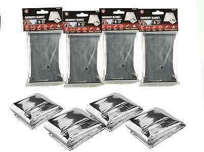 QTY 4: Emergency Mylar Survival Blanket Disaster Outdoor Bug-Out-Bag Firstaid