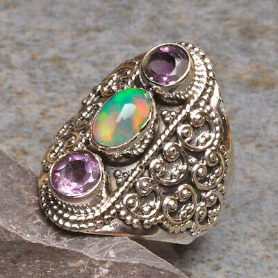 OVAL NATURAL ETHIOPIAN OPAL,AMETHYST GEMSTONE 925 STERLING SILVER RING SZ 6