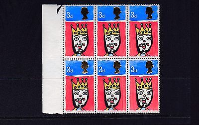 GB 1966 3d CHRISTMAS Stamp VARIETY Missing 'T' in Positional BLOCK 6 Re:F901