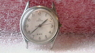 VINTAGE MENS OMEGA WWII ERA IN STAINLESS STEEL CASE MARKED GVK ON DIAL