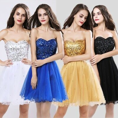 Short Sequin Girls Bridesmaid Party Ball Gown Gold Prom Formal Evening Dresses 2