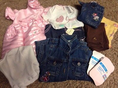 Lot Baby Girl Infant 6-12 Mos Easter Dress Gap Guess Jeans & More 11 Pc Some New