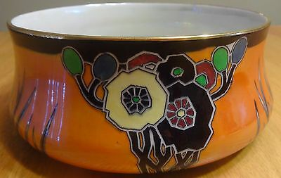 """ART DECO 1927 Carlton Ware Bowl #3195 8"""" HAND PAINTED """"Cubist Butterfly"""" RARE"""