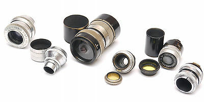 Lot of 6 lenses with C and D mount, brand: Som Berthiot, Wollensak, Siemens,Agfa