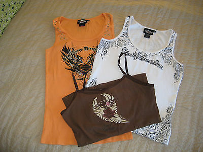 (27a)  Harley Davidson Women's  Tank Tops Lot of 3  Size L *NICE*