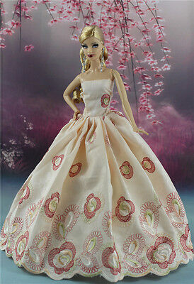 Fashion Princess Party Embroidery Dress/Clothes/Gown For Barbie Doll S163P6