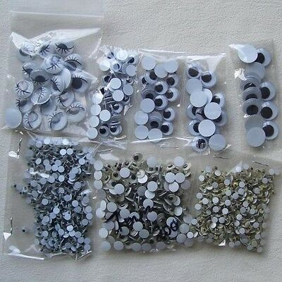 1000 Mixed Wobbly Eyes Various Sizes W: 3Mm - 12Mm (Lots To Choose)