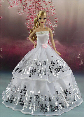 White Fashion Party Sequin Dress/Wedding Clothes/Gown For Barbie Doll S180P6