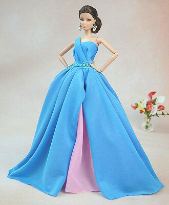 Blue Fashion Royalty Princess Party Dress/Clothes/Gown For Barbie Doll S155P6