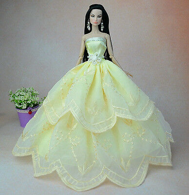 Light Yellow Fashion Princess Party Dress/Clothes/Gown For Barbie Doll S31P6