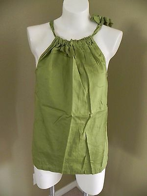 Women's a.n.a. Solid Green Gathered Bow Tie Straps Sleeveless Tank Top - Medium
