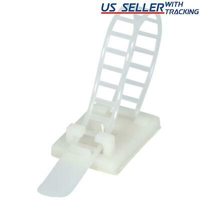 "25x Adjustable Adhesive Cable Straps Cord Management Tie Mount Clips 1.0"" White"
