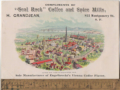 c1890s Trade Card Seal Rock Coffee and Spice Mills 823 Montgomery San Francisco