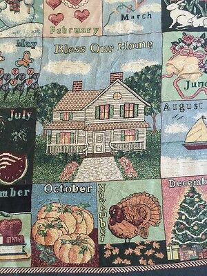 All Seasons 12 Months Holiday Calendar Bless Our Home Heavy Afghan Throw Blanket