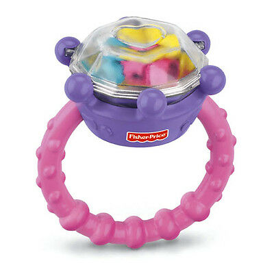 NEW Fisher-Price Diamond Ring BLING RATTLE Brilliant Basics Baby Girls TEETHABLE