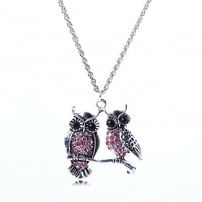 Pink Bling Antique Silver Rhinestone Double-Owl Cute Silver Chain Necklace