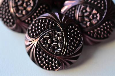 "08 - GORGEOUS SET (4) OF VINTAGE CZECH OLD GLASS 7/8"" TINTED BLACK GLASS BUTTONS"