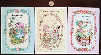 "Lot of 3 vintage ""Bouquet of Posies"" Birthday cards - AnneLiese - Little Girls"