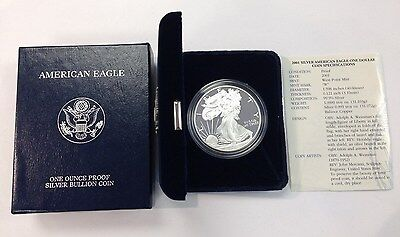 2001 W American Silver Eagle Proof coin 1oz. with box & COA item