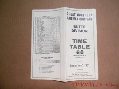 1951 Great Northern Railway Employee Timetable 68 Butte Division GNR ETT Vintage