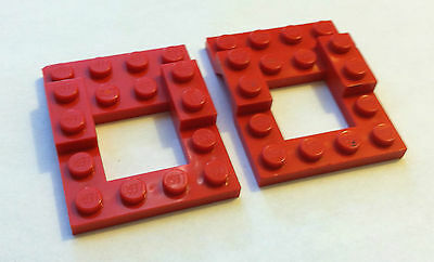 LEGO 4x5 Red VEHICLE BASE PLATE w/ Open Center Lot of 2 Pcs Car Truck